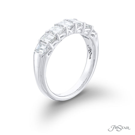 Gorgeous diamond wedding band featuring 7 radiant cut diamonds in a shared prong setting. Handcrafted in pure platinum. [details] Stone Information SHAPE TYPE WEIGHT Radiant Diamond 1.52 ctw. [enddetails] | JB Star 5448-002 Anniversary & Wedding