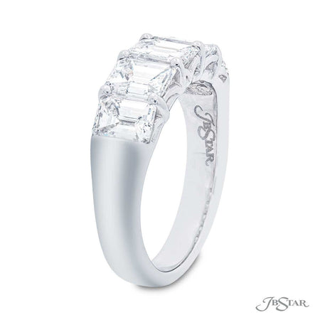 Dazzling diamond wedding band featuring 5 emerald-cut diamonds in a shared prong setting. Handcrafted in pure platinum. [details] Stone Information SHAPE TYPE WEIGHT Emerald Diamond 2.87 ctw. [enddetails] | JB Star 5449-002 Anniversary & Wedding