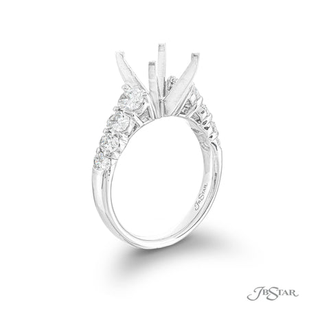 Stunning diamond semi-mount featuring 8 graduating oval diamonds in a shared prong setting. Handcrafted in pure platinum. [details] Stone Information SHAPE TYPE WEIGHT Oval Diamond 1.30 ctw. [enddetails] | JB Star 5452-006