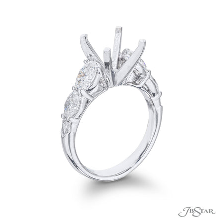 Gorgeous diamond semi-mount featuring 4 oval and 2 shield diamonds in a shared prong setting. Handcrafted in pure platinum. [details] Stone Information SHAPE TYPE WEIGHT Oval Shield Diamond Diamond 1.45 ctw. 0.18 ctw. [enddetails] | JB Star 5454-010 Semi Mount Settings