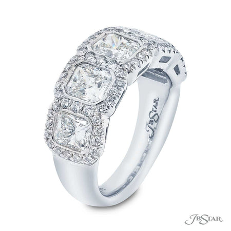 Dazzling diamond wedding band featuring 5 radiant-cut diamonds in a micro pave bezel-setting. Handcrafted in pure platinum. [details] Stone Information SHAPE TYPE WEIGHT Radiant Diamond 3.33 ctw. Round Diamond 0.64 ctw. [enddetails] | JB Star 5455-003 Anniversary & Wedding