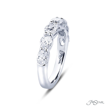 Stunning diamond wedding band featuring 7 perfectly matched oval diamonds in our east to west design. Handcrafted in pure platinum. [details] Stone Information SHAPE TYPE WEIGHT Oval Diamond 1.93 ctw. [enddetails] | JB Star 5456-010 Anniversary & Wedding