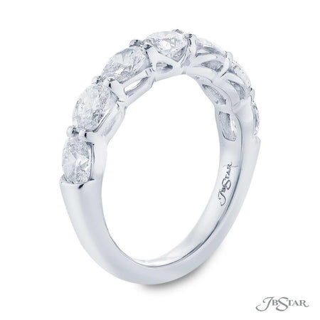 Gorgeous diamond wedding band featuring 5 oval diamonds in our east to west setting. Handcrafted in pure platinum. [details] Stone Information SHAPE TYPE WEIGHT Oval Diamond 1.75 ctw. [enddetails] | JB Star 5456-001 Anniversary & Wedding