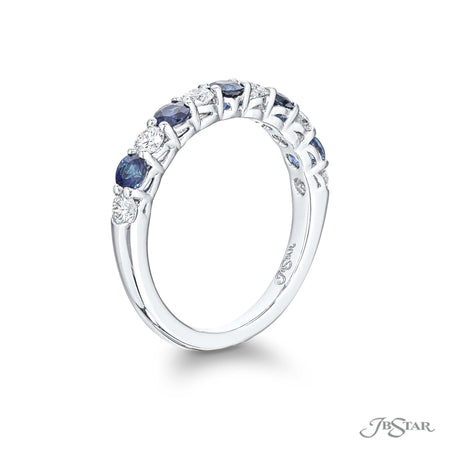 Stunning sapphire and diamond band featuring round sapphires and round diamonds in an alternating shared prong setting. Handcrafted in pure platinum. [details] Stone Information SHAPE TYPE WEIGHT Round Round Sapphire Diamond 0.62 ctw. 0.43 ctw. [enddetails] | JB Star 5459-005 Anniversary & Wedding