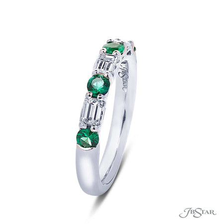 Gorgeous diamond wedding band featuring round emeralds and emerald-cut diamonds in a stunning alternating setting. Handcrafted in pure platinum. [details] Stone Information SHAPE TYPE WEIGHT Round Emerald Emerald Diamond 0.40 ctw. 0.52 ctw. [enddetails] | JB Star 5462-003 Anniversary & Wedding