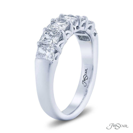 Dazzling diamond wedding band featuring 7 radiant-cut diamonds in a shared prong setting. Handcrafted in pure platinum. [details] Stone Information SHAPE TYPE WEIGHT Radiant Diamond 1.68 ctw. [enddetails] | JB Star 5465-002 Anniversary & Wedding
