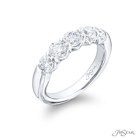 5471-002 | Diamond Wedding Band Round 1.10 ctw. Shared Prong Setting Side View