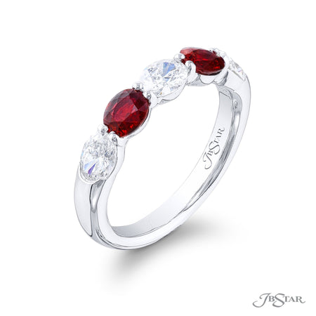 5475-006 | Ruby & Diamond Band Oval Alternating Design 0.83 ctw. Side View