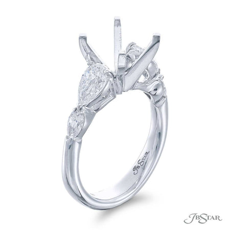 Gorgeous diamond semi-mount featuring 4 pear-shaped diamonds in a shared prong setting. Handcrafted in pure platinum. [details] Stone Information SHAPE TYPE WEIGHT Pear Diamond 1.25 ctw. [enddetails] | JB Star 5476-002 Semi Mount Settings