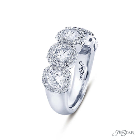 Dazzling diamond wedding band feature star radiant-cut diamonds in a micro pave bezel setting. Handcrafted in pure platinum. [details] Stone Information SHAPE TYPE WEIGHT Radiant Diamond 2.50 ctw. [enddetails] | JB Star 5479-001 Anniversary & Wedding