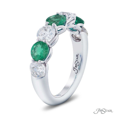 Stunning emerald and diamond wedding band featuring round emeralds and round diamonds in an alternating design. Handcrafted in pure platinum. [details] Stone Information SHAPE TYPE WEIGHT Round Emerald 1.20 ctw. Round Diamond 1.47 ctw. [enddetails] | JB Star 5481-002 Anniversary & Wedding
