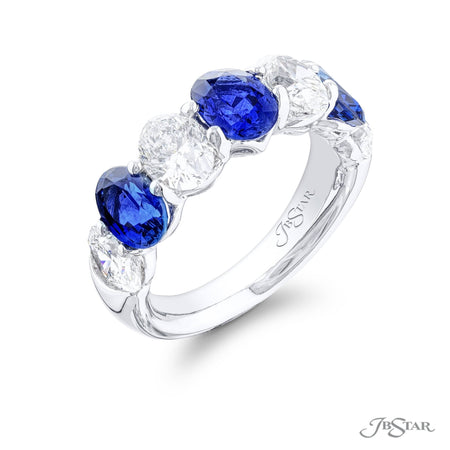 5497-009 | Sapphire & Diamond Band Oval 2.86 ctw. Alternating Design Side View