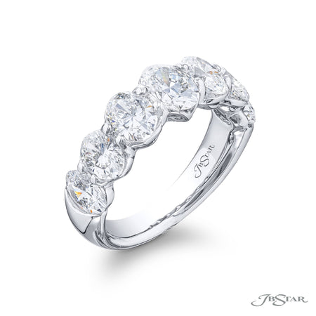 5497-012 | Diamond Wedding Band Oval 3.37 ctw. Shared Prong Setting Side View