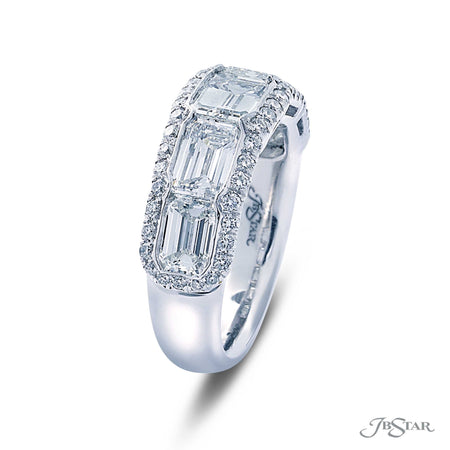 Dazzling diamond wedding band featuring 5 emerald-cut diamonds in our east to west setting, handcrafted in a micro pave bezel setting. Pure platinum. [details] Stone Information SHAPE TYPE WEIGHT Emerald Round Diamond Diamond 3.25 ctw. 0.41 ctw. [enddetails] | JB Star 5500-001 Anniversary & Wedding
