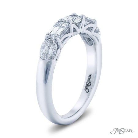 Dazzling diamond wedding band featuring emerald-cut and oval diamonds in an East to West setting. Handcrafted in pure platinum. [details] Stone Information SHAPE TYPE WEIGHT Emerald Diamond 0.65 ctw. Oval Diamond 0.66 ctw. [enddetails] | JB Star 5501-001 Anniversary & Wedding