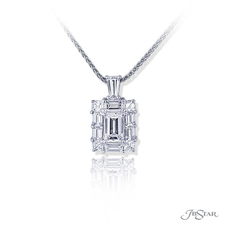 Lovely diamond pendent featuring a 0.88 ct. GIA certified emerald-cut diamond center embraced by emerald-cut and square emerald-cut diamonds. Handcrafted in pure platinum. [details] Center Stone(s) SHAPE TYPE WEIGHT COLOR CLARITY Emerald Diamond 0.88 ct. F VS1 Notes: GIA Stone Information SHAPE TYPE WEIGHT Emerald Diamond 0.90 ctw. Square Emerald Diamond 0.38 ctw. [enddetails] | JB Star 5503-001 Pendants