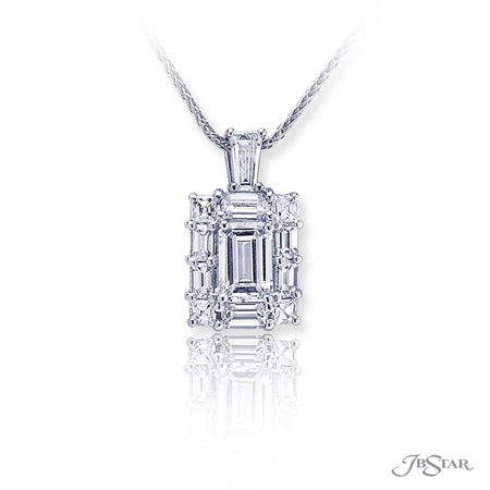 Gorgeous emerald diamond pendant featuring a 0.90 ct. GIA certified emerald-cut diamond center encircled by emerald-cut and square emerald-cut diamonds, hung by a tapered baguette diamond. Handcrafted in pure platinum. [details] Center Stone(s) SHAPE TYPE WEIGHT COLOR CLARITY Emerald Diamond 0.90 ct. E VS2 Notes: GIA Stone Information SHAPE TYPE WEIGHT Emerald Diamond 0.81 ctw. Square Emerald Diamond 0.29 ctw. Tapered Baguette Diamond 0.18 ct. [enddetails] | JB Star 5503-002 Pendants