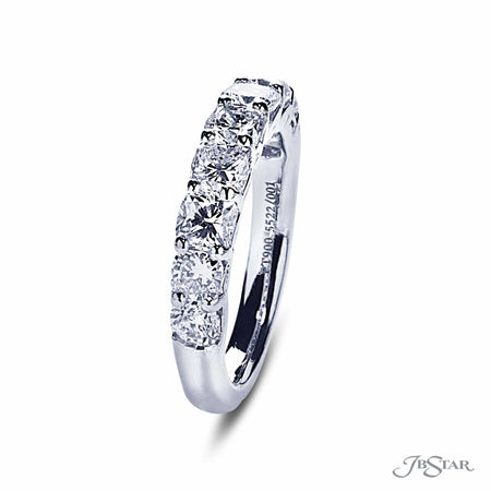 Stunning wedding band featuring 9 cushion cut diamonds in a shared prong setting and unique gallery design. Handcrafted in pure platinum. [details] Stone Information SHAPE TYPE WEIGHT Cushion Diamond 2.22 ctw. [enddetails] | JB Star 5522-001 Anniversary & Wedding