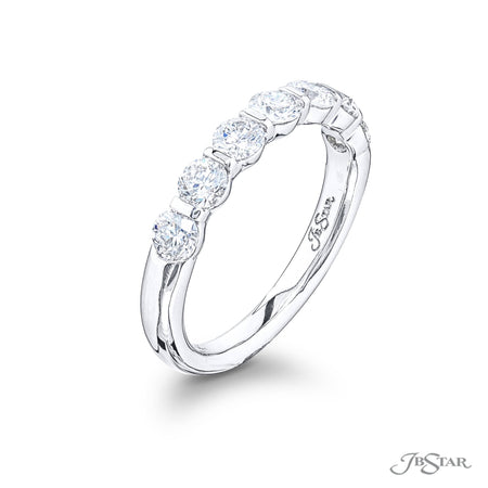 5525-004 | Diamond Wedding Band Round 1.00 ctw. Shared Prong Setting Side View