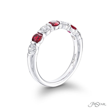 Gorgeous ruby and diamond band featuring round rubies and round diamonds in an alternating shared prong design. Handcrafted in pure platinum. [details] Stone Information SHAPE TYPE WEIGHT Round Round Ruby Diamond 0.68 ctw. 0.56 ctw. [enddetails] | JB Star 5525-007 Anniversary & Wedding