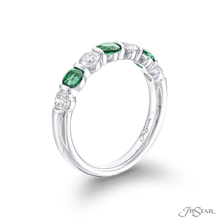 Gorgeous ruby and diamond band featuring round emeralds and round diamonds in an alternating shared prong design. Handcrafted in pure platinum. [details] Stone Information SHAPE TYPE WEIGHT Round Round Emerald Diamond 0.56 ctw. 0.60 ctw. [enddetails] | JB Star 5525-008 Anniversary & Wedding