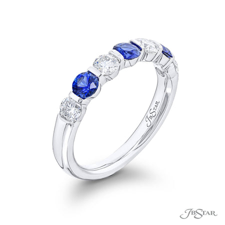 5525-002 | Sapphire & Diamond Band Round Cut Alternating Shared Prong Side View