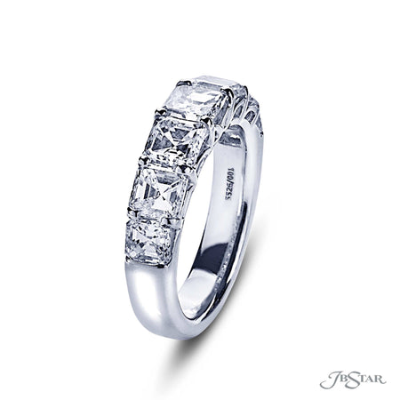 Beautiful diamond wedding band featuring 7 square emerald cut diamonds in a shared prong setting. Handcrafted in pure platinum. [details] Stone Information SHAPE TYPE WEIGHT Square Emerald Diamond 3.57 ctw. [enddetails] | JB Star 5526-001 Anniversary & Wedding