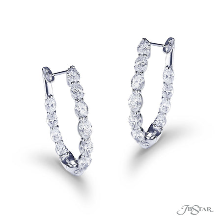 Dazzling diamond hoops featuring 22 perfectly matched oval diamonds in a shared prong setting. Handcrafted in pure platinum. [details] Stone Information SHAPE TYPE WEIGHT Oval Diamond 7.37 ctw. [enddetails] | JB Star 5527-001 Earrings