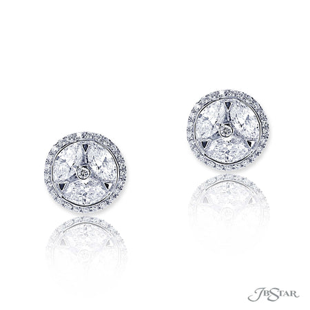Dazzling diamond stud earrings featuring marquise diamonds in a center channel surrounded by round diamond micro pave. Handcrafted in pure platinum. [details] Stone Information SHAPE TYPE WEIGHT Marquise Diamond 1.91 ctw. Round Diamond 0.30 ctw. [enddetails] | JB Star 5528-001 Earrings
