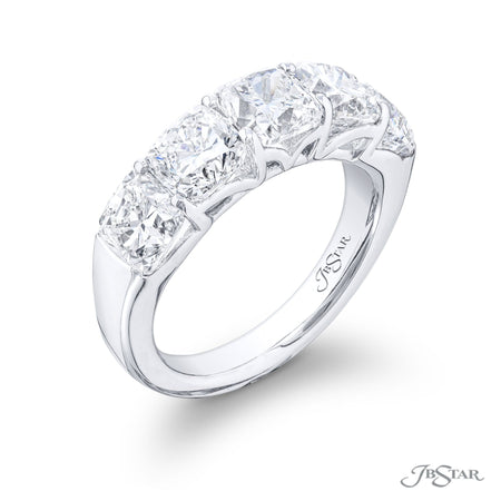 5529-002 | Diamond Wedding Band Cushion Cut 5.32 ctw. Shared Prong Side View