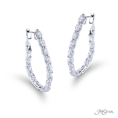 Gorgeous diamond hoop earrings featuring 28 perfectly matched oval diamonds in a shared prong setting. Handcrafted in pure platinum. [details] Stone Information SHAPE TYPE WEIGHT Oval Diamond 5.91 ctw. [enddetails] | JB Star 5536-001 Earrings