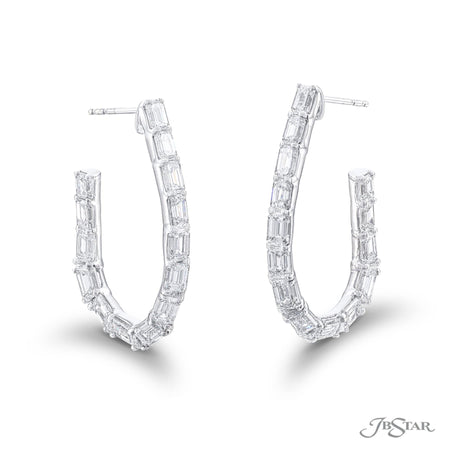 Gorgeous diamond hoop earrings featuring emerald-cut and tapered baguette diamonds. Handcrafted in pure platinum. [details] Stone Information SHAPE TYPE WEIGHT Emerald Diamond 9.35 ctw. Tapered Baguette Diamond 0.20 ctw. [enddetails] | JB Star 5539-001 Earrings