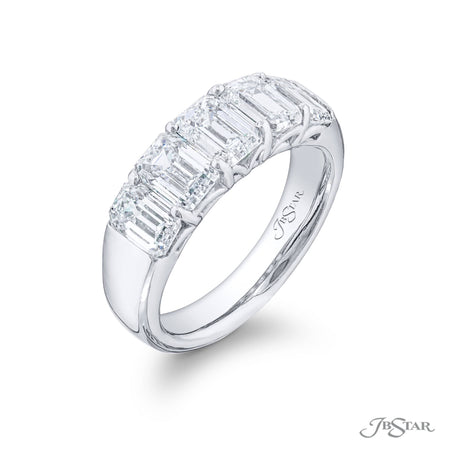 Beautiful diamond wedding band featuring 5 perfectly matched emerald cut diamonds in a shared prong setting. Handcrafted in pure platinum. [details] Stone Information SHAPE TYPE WEIGHT Emerald Diamond 3.28 ctw. [enddetails] | JB Star 5548-001 Anniversary & Wedding