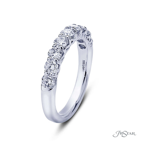 Beautiful diamond wedding band featuring 9 round diamonds in a shared prong setting. Handcrafted in pure platinum. [details] Stone Information SHAPE TYPE WEIGHT Round Diamond 1.12 ctw. [enddetails] | JB Star 5551-001 Anniversary & Wedding