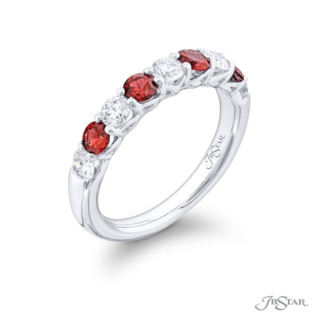 5551-014 | Ruby & Diamond Band Round Alternating Design 0.68 ctw. Side View