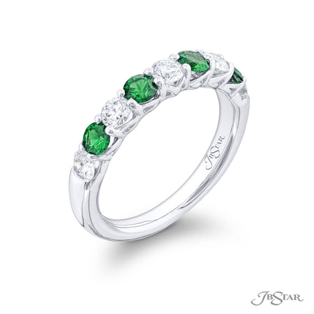5551-015 | Emerald & Diamond Band Round Alternating Design 0.48 ctw. Side View