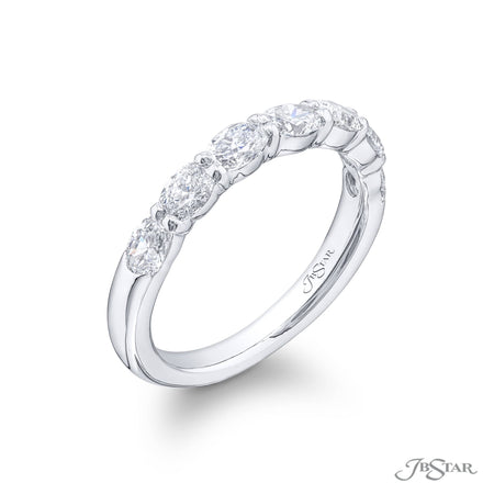 5553-007 | Diamond Wedding Band Oval 1.23 ctw. East to West Design Side View