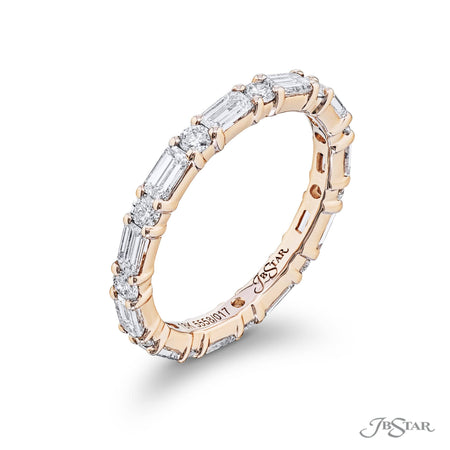 5558-017 | Diamond Eternity Band Round & Emerald-Cut 18KY Pink Gold Side View
