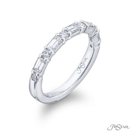 5558-020 | Diamond Wedding Band 1.80 ctw. Round & Emerald-Cut Side View
