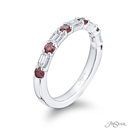 Stunning diamond band featuring round rubies and emerald-cut diamonds in an alternating design. Handcrafted in pure platinum. [details] Stone Information SHAPE TYPE WEIGHT Round Ruby 0.53 ctw. Emerald Diamond 0.56 ctw. [enddetails] | JB Star 5559-021 Anniversary & Wedding