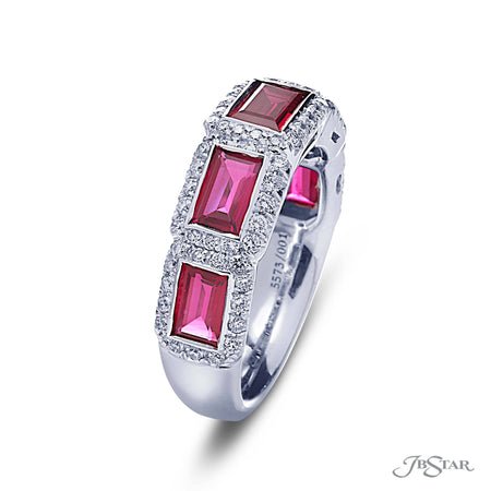 Dazzling ruby and diamond band featuring 5 perfectly matched straight baguette