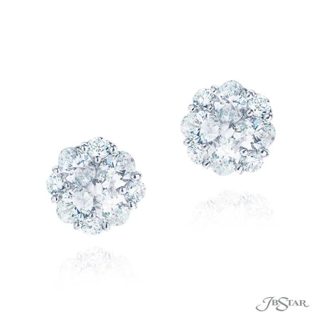 Gorgeous diamond stud earrings featuring oval and round diamonds in a beautiful design. Handcrafted in pure platinum. [details] Stone Information SHAPE TYPE WEIGHT Oval Diamond 2.79 ctw. Round Diamond 0.76 ctw. [enddetails] | JB Star 5589-001 Earrings