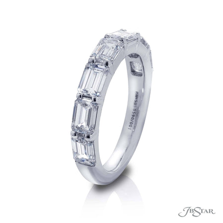 Gorgeous diamond wedding band featuring 7 emerald-cut diamonds in our east to west design. Handcrafted in pure platinum. [details] Stone Information SHAPE TYPE WEIGHT Emerald Diamond 2.94 ctw. [enddetails] | JB Star 5590-001 Anniversary & Wedding