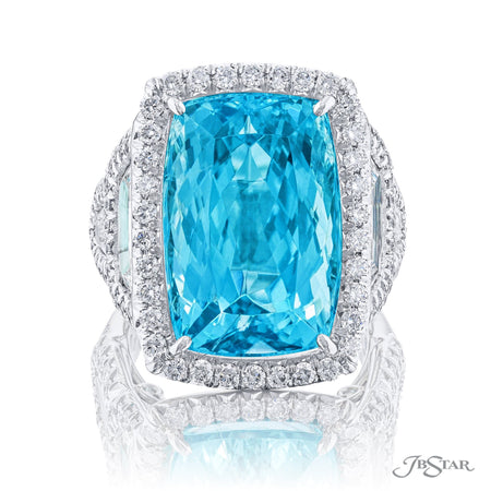 5603-001 | Paraiba & Diamond Ring 16.98 ct. Cushion-Cut Micro Pave Front View