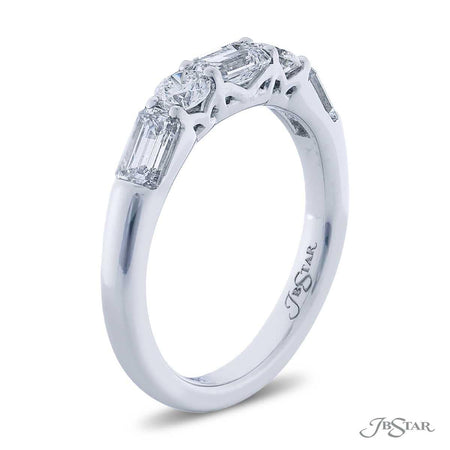 Gorgeous diamond band featuring 3 emerald-cut diamonds and 2 round diamonds in an alternating design. Handcrafted in pure platinum. [details] Stone Information SHAPE TYPE WEIGHT Emerald Diamond 1.00 ctw. Round Diamond 0.32 ctw. [enddetails] | JB Star 5604-001 Anniversary & Wedding