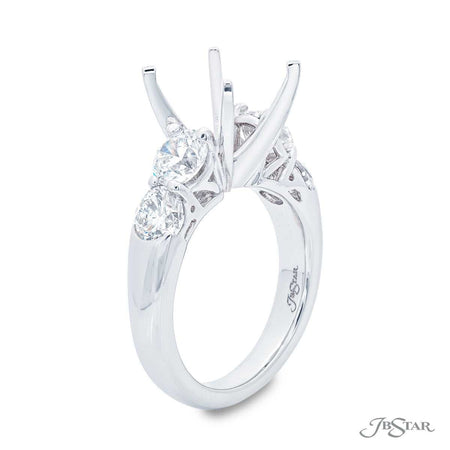 Stunning diamond semi-mount featuring 4 brilliant round diamonds in shared prong setting with a beautiful gallery design. Handcrafted in pure platinum. [details] Stone Information SHAPE TYPE WEIGHT Round Diamond 2.14 ctw. [enddetails] | JB Star 5607-004 Semi Mount Settings