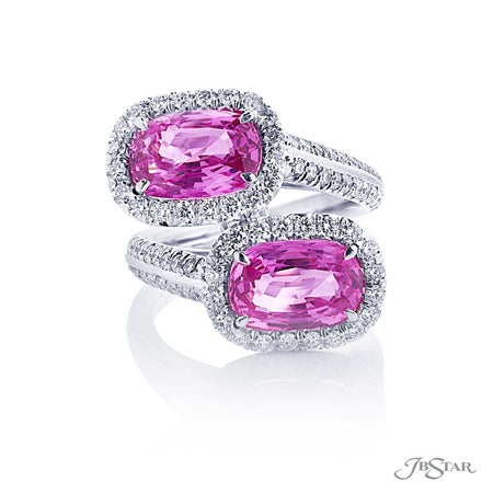 Magnificent pink sapphire and diamond two stone ring featuring two cushion-cut pink sapphires in our Twogether design edged in diamond pave. Handcrafted in pure platinum. [details] Center Stone(s) SHAPE TYPE WEIGHT Cushion Pink Sapphire 6.00 ctw. Stone Information SHAPE TYPE WEIGHT Round Diamond 1.14 ctw. [enddetails] | JB Star 5609-001 Precious Color Rings