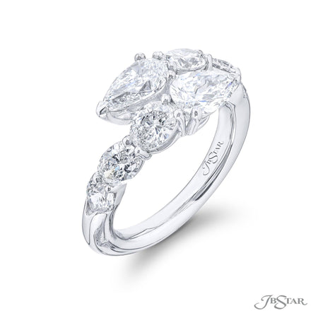 5611-003 | Two Row Diamond Ring GIA certified Pear & Oval Cut 1.40 ctw Side View