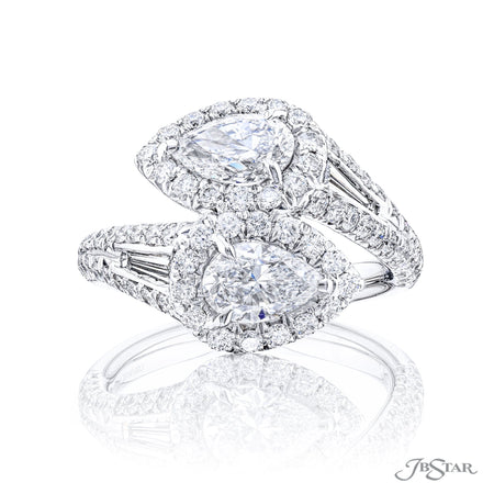 5614-002 | Two-Stone Diamond Engagement Ring Pear Cut 1.41 ctw. Front View