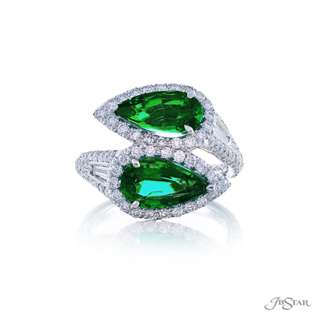Magnificent Twogether ring featuring 2 pear shaped emeralds embraced by tapered baguette diamonds in a micro pave setting. Handcrafted in pure platinum. [details] Center Stone(s) SHAPE TYPE WEIGHT Pear Emerald 3.22 ctw. Stone Information SHAPE TYPE WEIGHT Tapered Baguette Round Diamond Diamond 0.23 ctw. 1.03 ctw. [enddetails] | JB Star 5614-012 Precious Color Rings